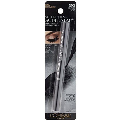 L'Oreal Paris Voluminous Superstar Liquid Eyeliner Pen, Black [202] 0.056 oz (Pack of 2)