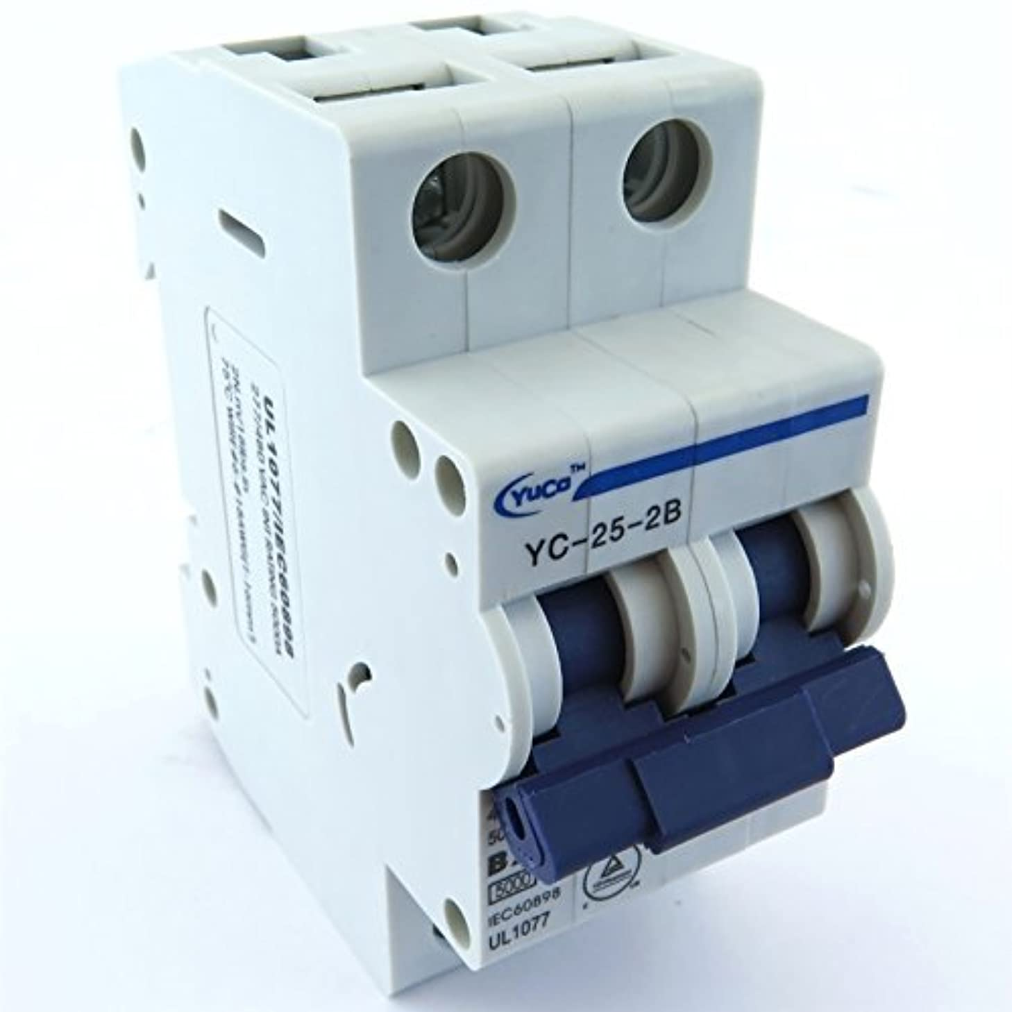 Yuco YC-25-2B Miniature Din Rail Circuit Breaker B Curve 277/480V 50/60Hz 2 Pole (25 Amp)
