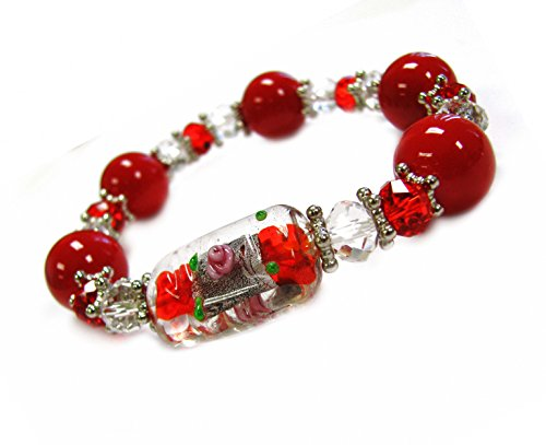 Linpeng Red Women-Lampwork Glass Crystal Beads Stretch Bracelet Pouch