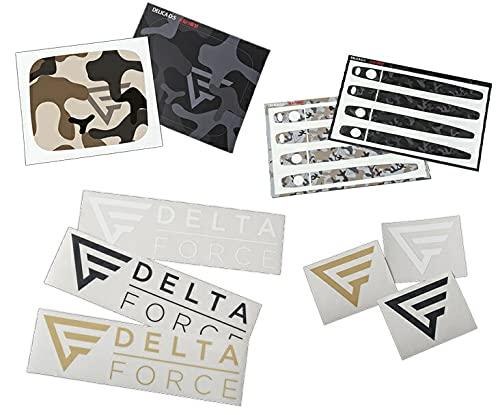 デリカ D5後期 DELTA FORCE車種専用セット カモフラシートフューエルタンク+ドアノブ用ブラックカモフラ ロゴステッカーベージュ大+小