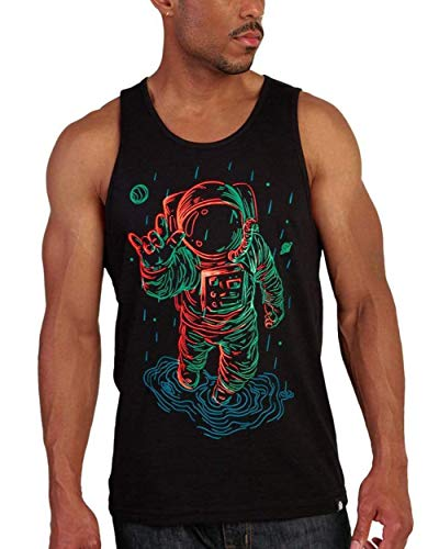 INTO THE AM Universal Love Glow in The Dark Graphic Tank Top for Men - Cool Novelty Soft Fitted Sleeveless Muscle Bro Tanks for Guys (Black, Medium)