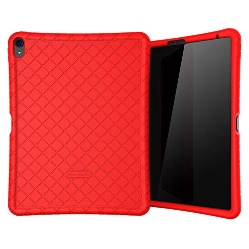 Bear Motion Silicon Case for iPad Pro 12.9 2018 Shockproof Silicone Protective Cover (Does NOT Support Apple Pencil 2 Charging) (iPad Pro 12.9 2018, Red)
