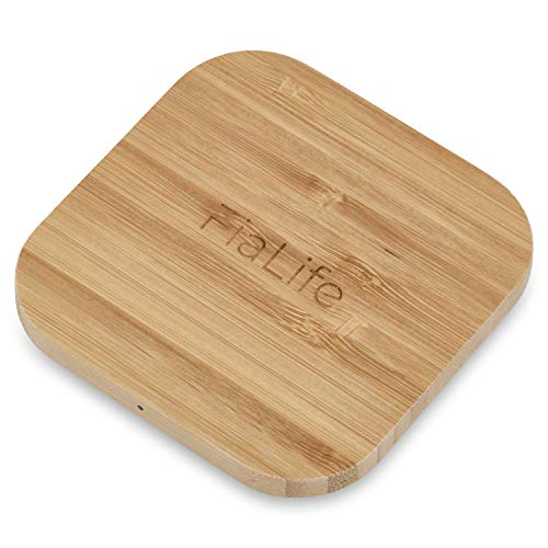 FiaLife - Wireless Bamboo Phone Charger – Lightweight Portable 5W Qi Certified Charging Pad for iPhones, Samsung Galaxy, LG and Many Other Wireless Charging Capable Devices.