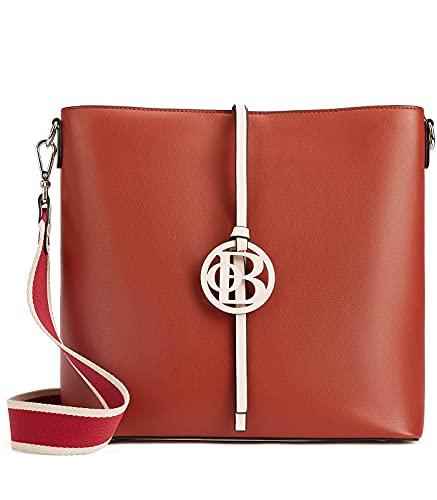 BOSTANTEN Bolso de piel para mujer, bolso de hombro, bolso de diseñador, bolso de piel con 2 correas para el hombro