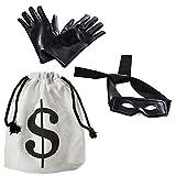 Tigerdoe Robber Costume - Bandit Mask, Bag & Gloves - Burglar Costume - Bank Robber Accessories