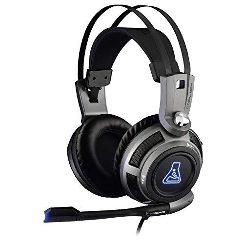The G-Lab Korp 200G Auriculares Gaming con Sonido Estéreo, LED Azul, Cómodo y Brillante, Compatible con Jack de 3.5mm PC / PS4/PS5/Xbox One/Xbox Series X/Nintendo Switch/Smartphone – Nuevo 2021, Gris