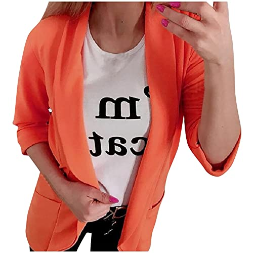 Damen Mode Cardigan Anzugjacke Casual 3/4 Ärmel Revers Blazer Windbreaker Sakko mit Tasche Frauen Slim Fit Jacke Mäntel Bequem Atmungsaktiv Warme Parka Sweatshirts Outwear Ponchos Frühling Herbst