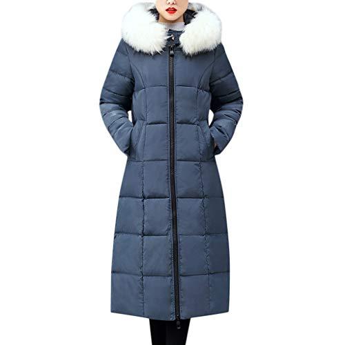 Plot Damen Steppjacke Lang Winterjacke Wintermantel Einfarbig Daunenjacke Stepp Jacken mit Pelzkapuze Reißverschlus Winter Warm Mantel Outwear Lange Slim Fit Steppmantel