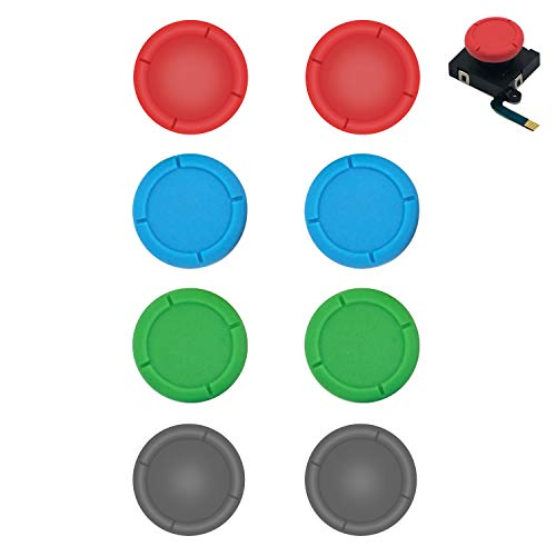 BRHE Replacement Thumb Grip Caps for Nintendo Switch Original 3D Analog Stick and Nintendo Switch Lite Joy Con Joystick Silicone Rubber Cover Set 2 Pack (Red Blue Green Gray)