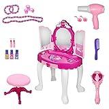 Ejoyous - Juego de tocador para niños y niñas, con Taburete, Mesa de Maquillaje y Taburete para niños a Partir de 3 años, 45 x 29 x 75 cm