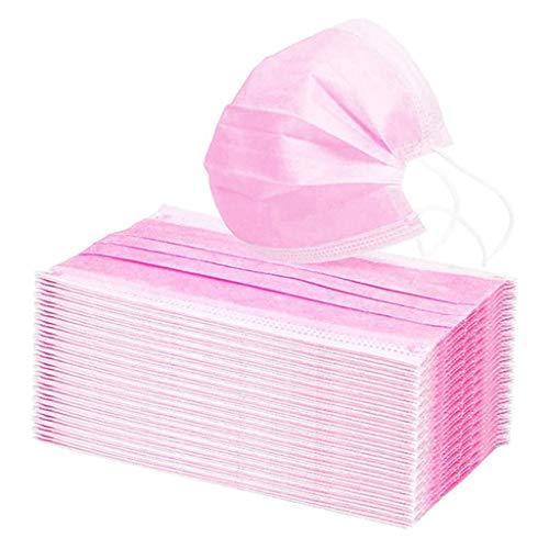 100 Stück Atmungsaktive Einmal-Mundschutz Erwachsene Einzeln verpackt 3-lagig Staubs-chutz Mundbedeckung Bandana Face-Mouth Cover Verstellbarer Halstuch (Rosa)