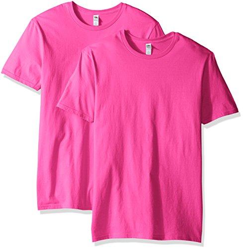Fruit of the Loom Men's Crew T-Shirt (2 Pack), Cyber Pink, Medium