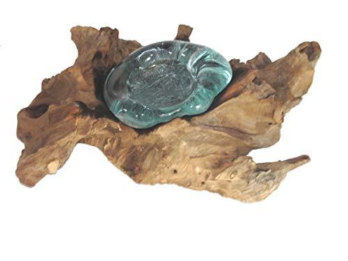 Teelichthalter Kerzenhalter, Glas auf Wurzelholz, Treib-Holz, (B)