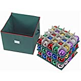 ProPik 75 Holiday Ornament Storage Box, 3 Trays with Dividers - Holds Up to 75 Ornaments Balls, Xmas Decorations Accessories Storage Container, Durable 600D Oxford Material (Green)