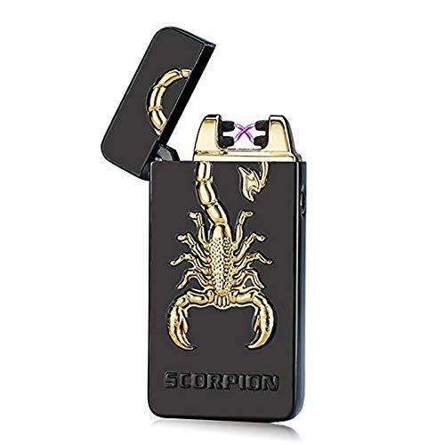 SHUNING Encendedor USB, Encendedor eléctrico de Doble Arco a Prueba de Viento, Encendedor de Cigarrillos Recargable USB (Black Scorpion)