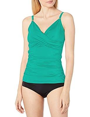 Calvin Klein Women's Tankini Swimsuit with Adjustable Straps and Tummy Control, Jungle, Medium