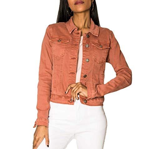 EGOMAXX Chaqueta Corta De Jeans para Mujeres Chaqueta Corta De Primavera Denim West, Color:Salmón, Talla:38