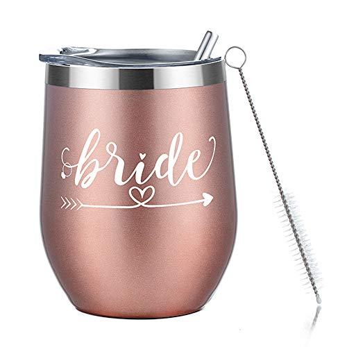 Amzyt Wine Tumbler for Bride, Stainless Steel Stemless Wine Tumbler with Lid-12 Oz Insulated Wine Glass for Married Bachelorette Party Bride To Be Wedding Engagement and Bridesmaid Gifts