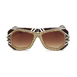 Brown Oversize Pilot Sunglasses With Rhinestone