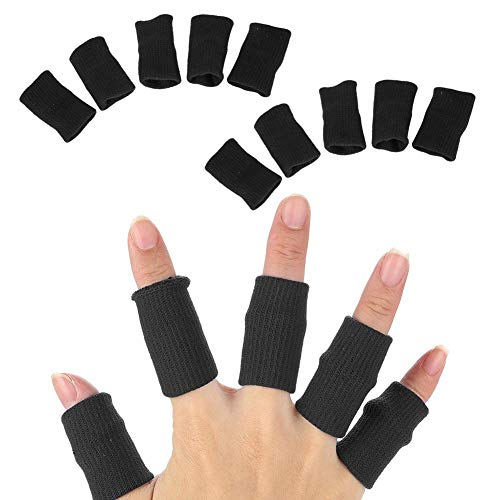 Protector de dedos manga, 10pcs elástico flexible dedos tablilla soporte dedo protector deportes ayuda envoltura de la venda de la artritis(negro)