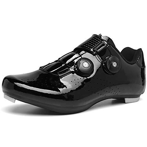 YQSHOES Zapatillas Ciclismo Bicicleta Carretera Doble Hebilla Giratoria Compatible Cala SPD para Mujer Hombre Interior/Exterior,Negro,42EU/8.5UK/9US