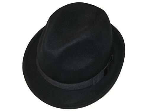 Major Wear Unisexe Noir 100% Laine en Feutre Fedora Chapeau avec Bande – 4 Tailles - Noir - Large