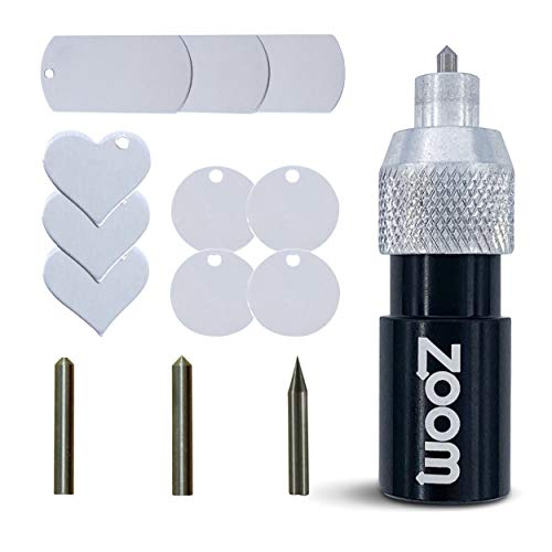 Brother Scan and Cut 3-in-1 Etching/Engraving Tool - Precision, Regular, and Blunt Engraving Tips with Heart, Dog Tag, and Circle Aluminum Stamping Blanks Included - Made by Zoom Precision
