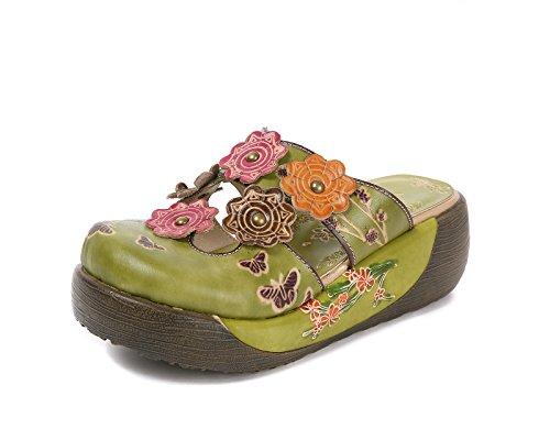 Sandalias Mujer, Popoti Sandalias Verano Cuero Zapatillas Mocasines Chanclas de Bohemia Zapatos de Flores Vintage Zapatillas de Chanclas Tacón De Cuña de Playa Nuevo