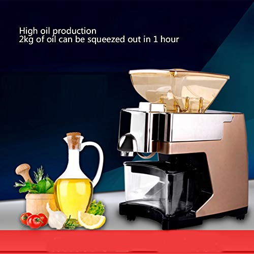 MAQRLT Oil Press Machine, Home Automatic Nut Seeds Peanut Oil Expeller Electric Oil Press Extractor for Flaxseed Peanut Almond Castor Hemp Perilla Seed