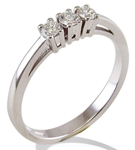 Anello Trilogy Gemoro in oro bianco e diamanti FT246BIA17 misura 14,50