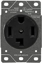 ENERLITES 66300-BK 30 Amp Dryer Receptacle Outlet, NEMA 14-30R | Residential Commercial Industrial Grade, Outdoor/Indoor, 3-Pole, 4 Wire, (10,8,6,4) AWG, UL Listed | 125/250V, 66300-BK-Black