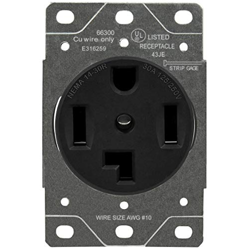 ENERLITES 30 Amp Dryer Receptacle Outlet, NEMA 14-30R | Residential Commercial Industrial Grade, Outdoor/Indoor, 3-Pole, 4 Wire, (10,8,6,4) AWG, UL Listed | 125/250V, 66300-BK - Black