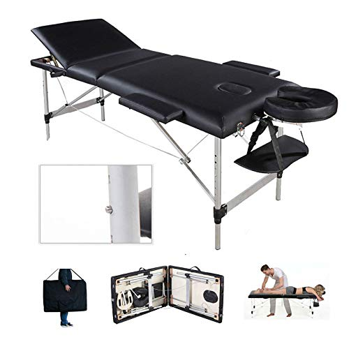 Massageliege 3 Zonen Klappbar Massagetisch Massage Kosmetik Bank Tisch klappbar höhenverstellbare Aluminiumfüße Premium-PU-Leder Einfache Installation mit Tragetasche Schwarz (bis 230kg belastbar)