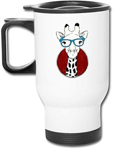 Giraffa con gli occhiali 15 once Doppia parete in acciaio inossidabile vuoto isolato Tazza da viaggio Tazza da caffè con coperchio antispruzzo