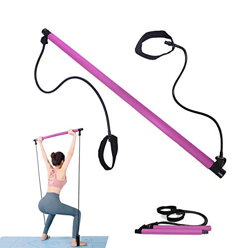 Multifunktionaler Tragbares Fitness Bar mit Lange Widerstandsband Expander, Pilates Stick Set für Ganzkörpertraining,Stretch, Twisting, Sit-Up Bar für Zuhause,Fitnessstudio