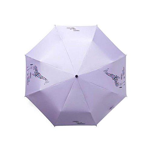 Black Temptation Compact Travel Foldable Umbrella Winddicht Leicht mit Anti-UV/Slip Griff, Deer, Helles Lila