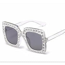 Square Big Box Color Sunglasses With Rhinestone