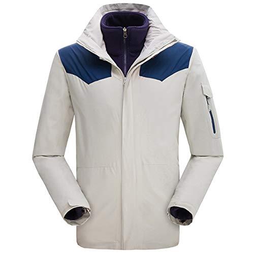 YWZQ Vestes de Ski pour Hommes, Coupe-Vent imperméable Amovible 3 en 1 Alpinisme extérieur Costume Four Seasons pour Universal Ski Alpinisme Randonnée Course à Pied,Blanc,3XL