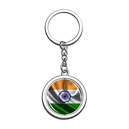 Indien Nationalflagge Schlüsselbund 3D Kristall Kreative Spinning Runde Edelstahl Schlüsselbund Reise Stadt Souvenir Schlüsselanhänger Ring