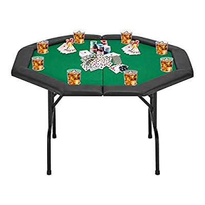 ECOTOUGE Poker Game Table w/Stainless Steel Cup Holder for 8 Player w/Leg, Octagon Casino Leisure Table Top Texas Hold'em Poker Table, Green Felt