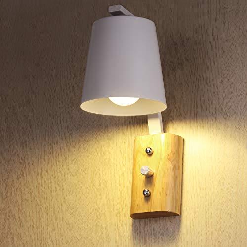 Wandlampe KWOKWEI, Wandspot mit E27-Fassung, Innen Wandleuchte aus Stahl und Holz, Wandstrahler in Weiß Max. 60 Watt für Treppenhaus, Wohnzimmer, Schlafzimmer, Flur, Korridor, Badezimmer