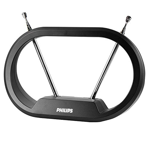 Philips Modern Loop Rabbit Ears Indoor TV Antenna, 15 inch Extendable Dipoles, 4K 1080P VHF UHF, Tabletop Antenna, Digital HDTV Antenna, Smart TV Compatible, 4ft Coaxial Cable, Black, SDV7114A/27