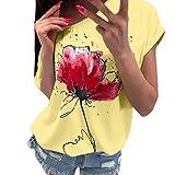 MEIbax Mujer Camiseta Tirantes Verano/Hombro sin Tirantes Color sólido/Mujeres Camisetas sin Mangas Tank Tops Dama Blusa Camisas Chaleco Deportiva Deporte Gimnasio Casual Suelta (XL, Amarillo)