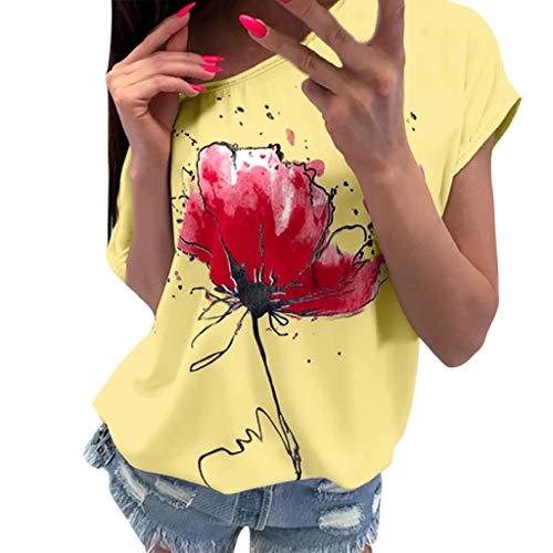 OVERDOSE Frauen Kurzarm Blumen Pumps Gedruckt Tops Strand Beiläufige Lose Bluse Top T-Shirt (EU-44/CN-XXL, X-ab-gelb)