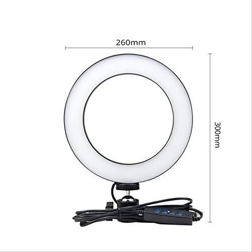 Espejo Con Luz Tocador Luz 3 Modos Fotografía Dimmable Led Selfie Ring Light Youtube Video Live Con Soporte Para Teléfono Conector Usb Trípode 26cm