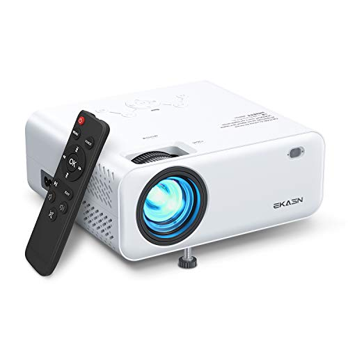 Mini Projector, EKASN Creative E450 Projector for Outdoor Movies, 5500Lux Full HD 1080P Supported Portable Projector Max 200
