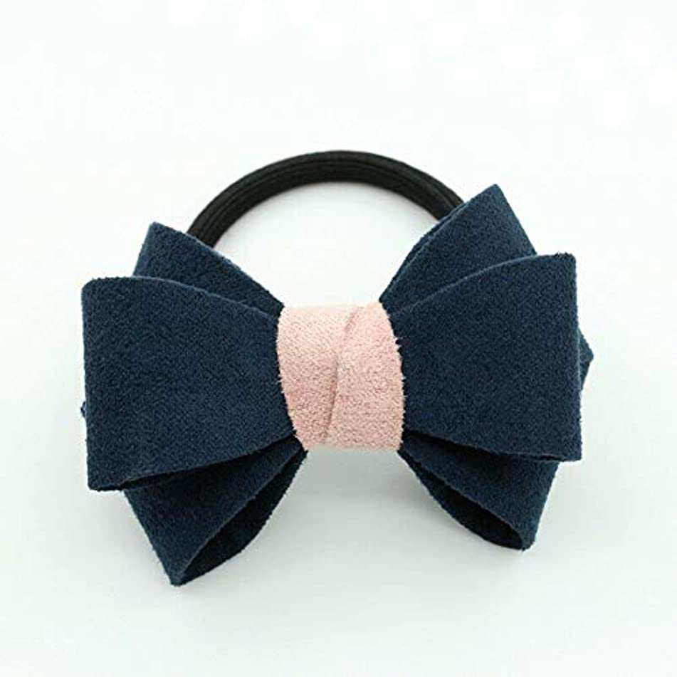 Charm Women Bow Knot Hair Band Elastic Tie Rope Ring Scrunchie Ponytail Holder (Patterns - #B Dark Blue)