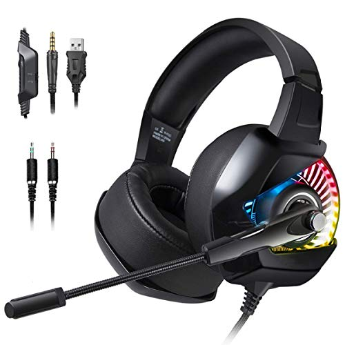 Electronics Gaming Headset with Microphone PC Gamer Bass Stereo Headphones for PS4 Gamepad New Xbox One Laptop Computer Wearable