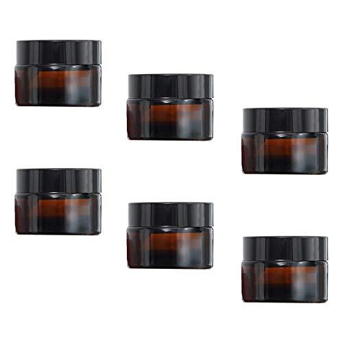 TUAKIMCE 6 Stück 5ml Amber Glas Cremedose Leer Leerdose klarer Tiegel Leerdose Leere Nachfüllbare Behälter Braunen Glasbehälter mit Deckel und Liner für Lotion, Creme, Kosmetik