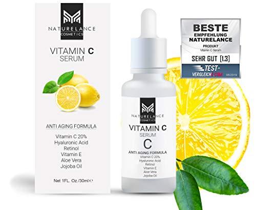 NATURELANCE Sérum de vitamina C «Vergleichssieger» orgánico, vegano, dosis altas con ácido hialurónico antiedad, aloe vera, vitamina E, retinol, cuidado hidratante para cara y piel